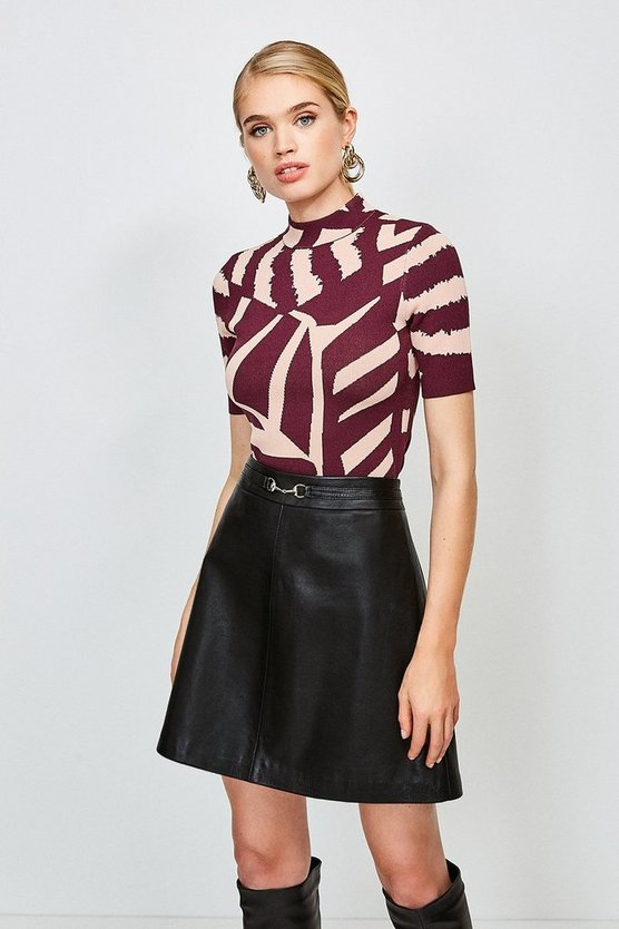 Multi Abstract Jacquard Knitted Top