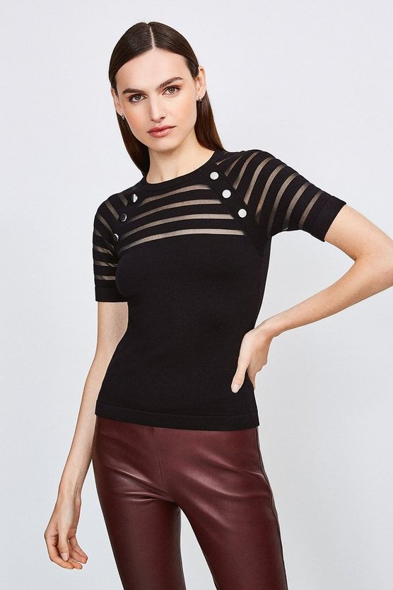 Black Sheer Stripe Knitted Top