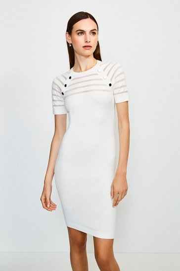 Ivory Sheer Stripe Knitted Dress