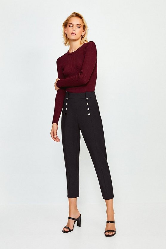 Black Tailored Button Detail Trouser