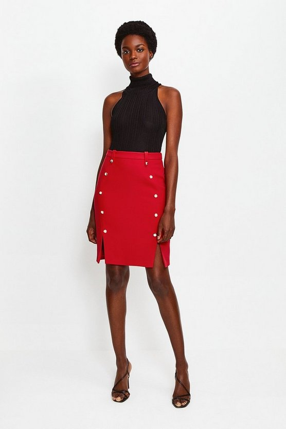 Red Tailored Button Skirt