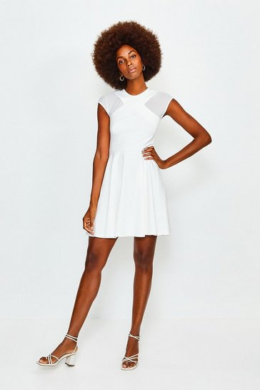 Ivory Cross Halter Mesh Jersey Dress