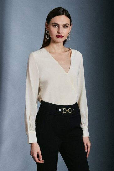 Ivory Silk Wrap Blouse