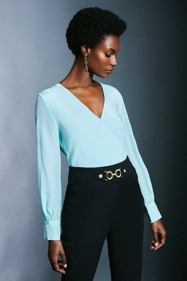 Pale blue Silk Wrap Blouse