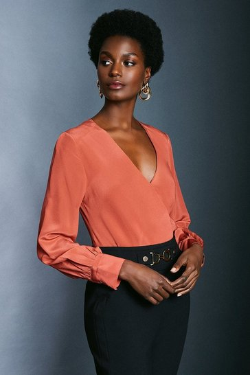 Tan Silk Wrap Blouse