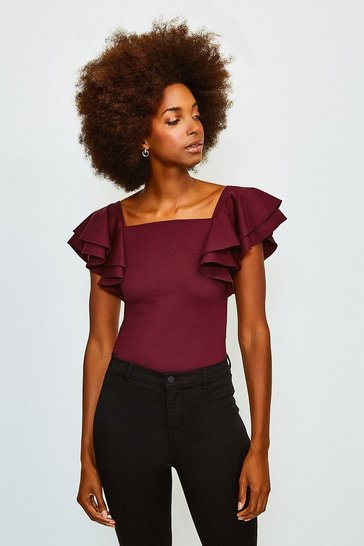Fig Square Neck Frill Sleeve Top