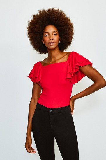 Red Square Neck Frill Sleeve Top