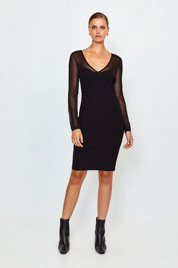 Black Sheer Sleeve Knitted Dress