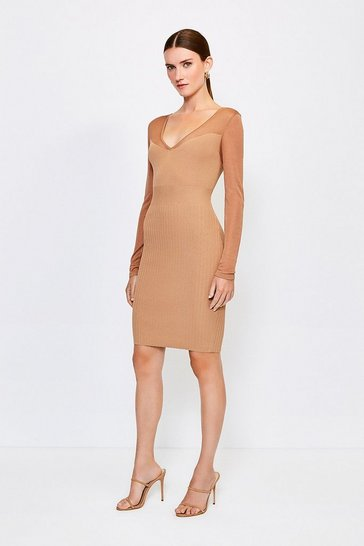 Camel Sheer Sleeve Knitted Dress
