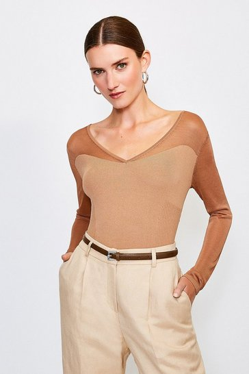 Camel Sheer Sleeve Knitted Top
