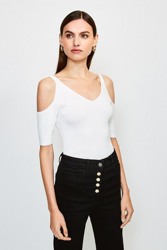 Ivory Cold Shoulder Knitted Top