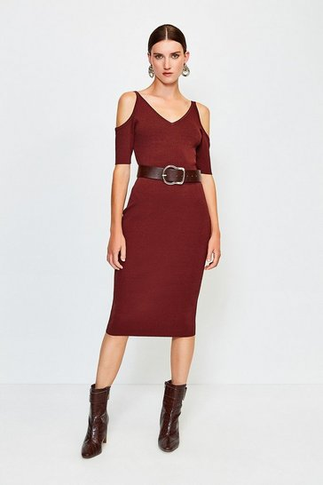 Brown Cold Shoulder Knitted Dress