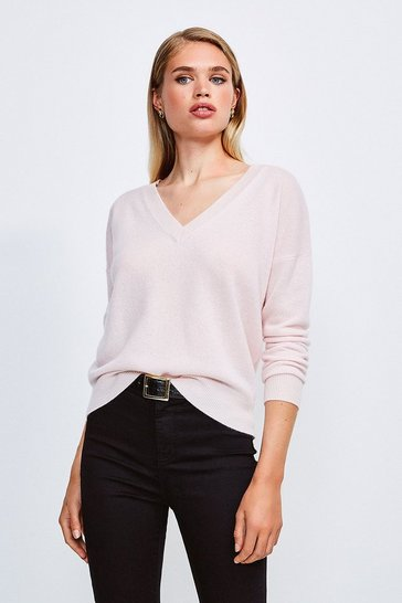 Blush Cashmere V Neck Jumper