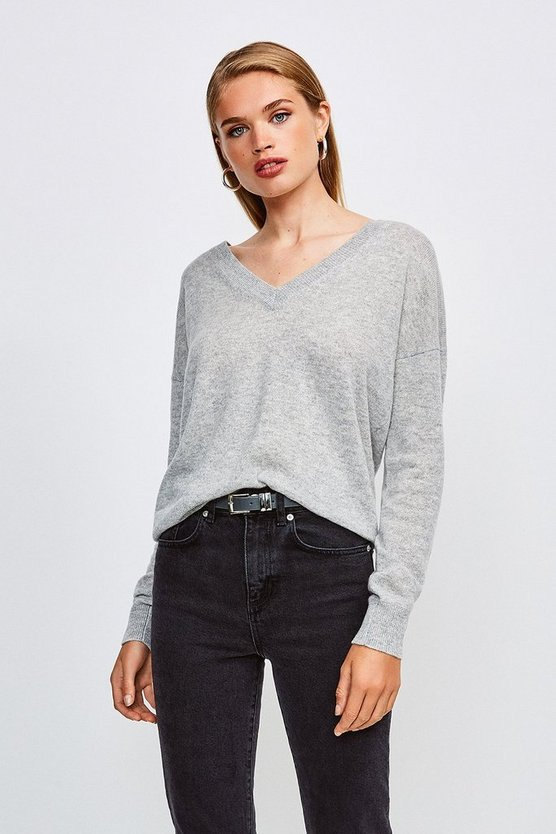 Light grey Cashmere V Neck Jumper