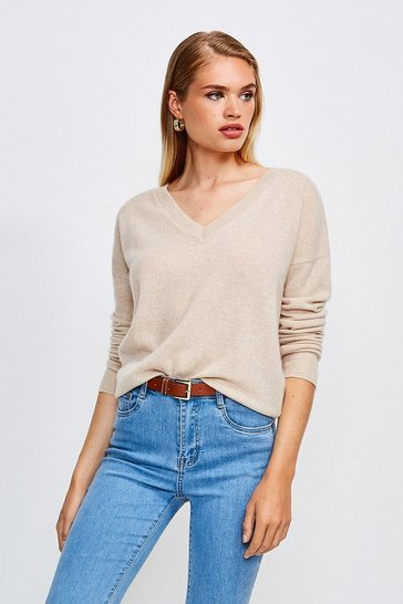 Oatmeal Cashmere V Neck Jumper