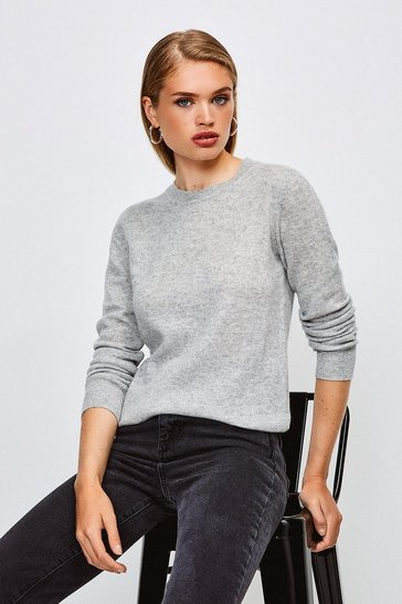 Light grey Crew Neck Cashmere Jumper
