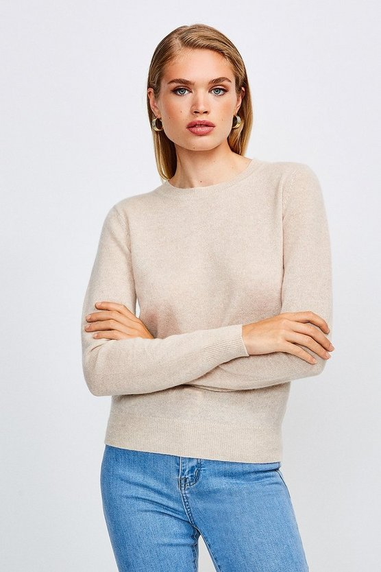 Oatmeal Crew Neck Cashmere Jumper
