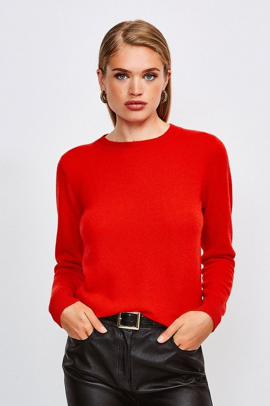 Red Crew Neck Cashmere Jumper