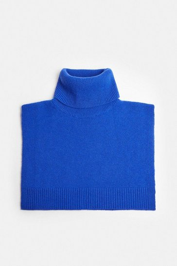 Cobalt Cashmere Ribbed Roll Neck Snood