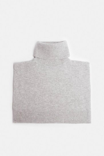 Light grey Cashmere Ribbed Roll Neck Snood