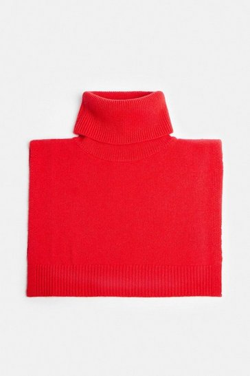 Red Cashmere Ribbed Roll Neck Snood
