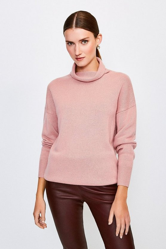 Dusty pink Cashmere Roll Neck Jumper