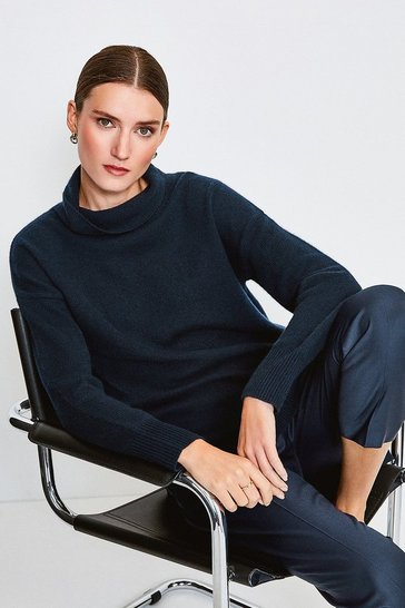 Navy Cashmere Roll Neck Jumper