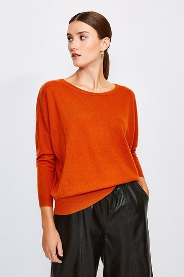 Burnt orange Cashmere Draped Shoulder Jumper