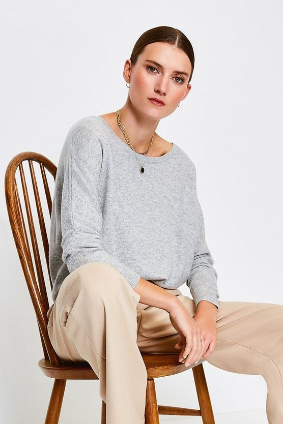 Light grey Cashmere Draped Shoulder Jumper