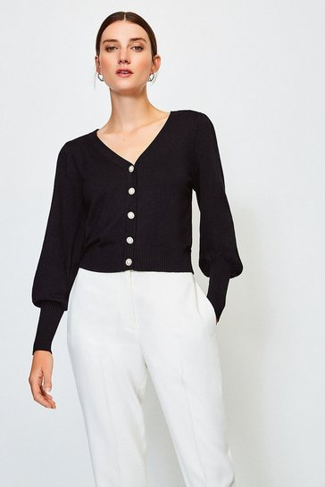 Black Pearl Button V Neck Cardi