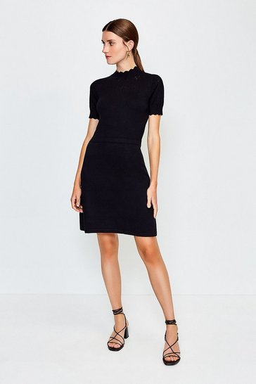 Black Pointelle Short Sleeve Knitted Dress