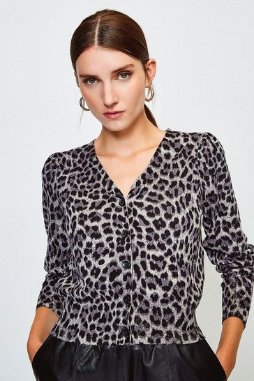 Grey V Neck Animal Print Cardigan