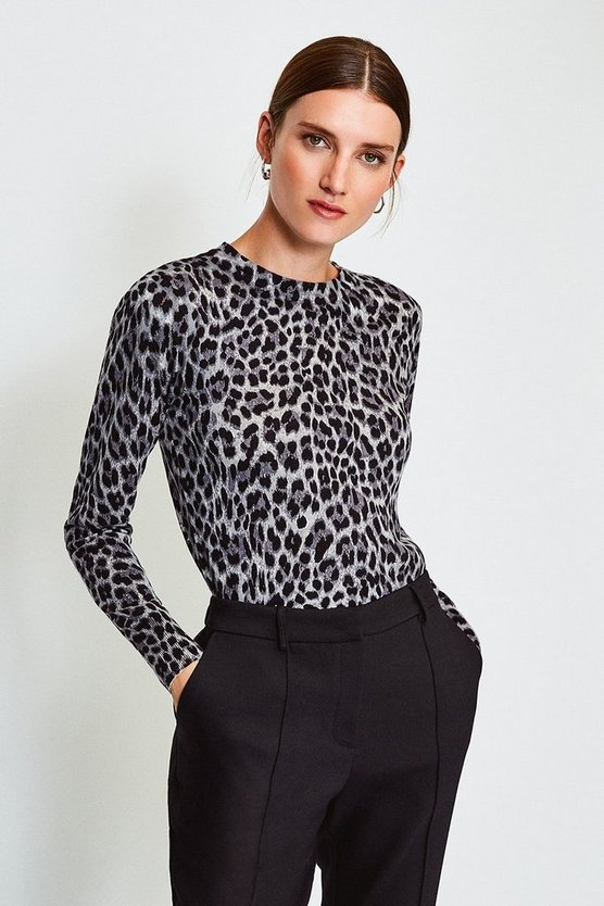 Grey Animal Print Crew Jumper