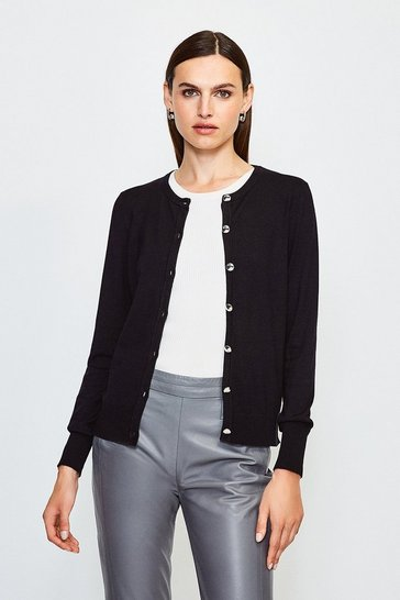 Black Essential Knitted Cardigan