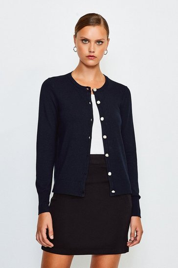 Navy Essential Knitted Cardigan