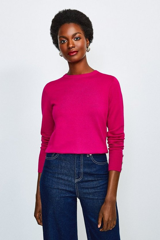 Magenta Button Cuff Crew Jumper