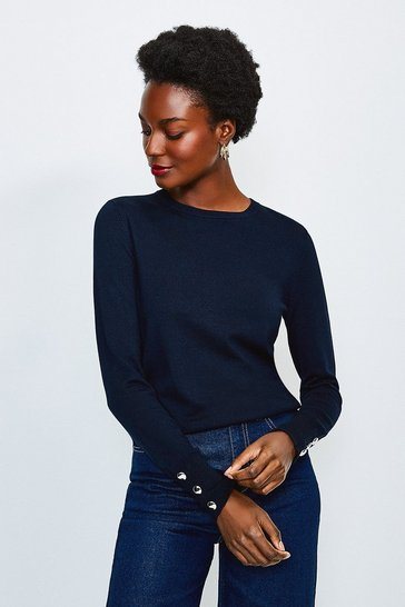Navy Button Cuff Crew Jumper