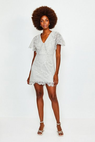 Grey Fluted Sleeve Lace Dress