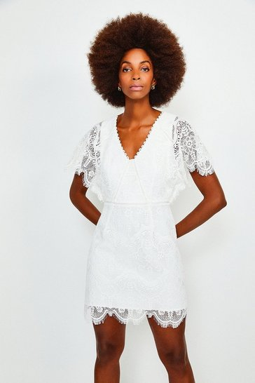 Ivory Fluted Sleeve Lace Dress