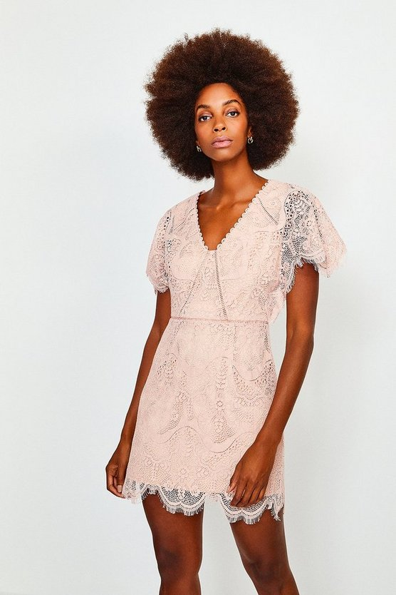 Peach Fluted Sleeve Lace Dress