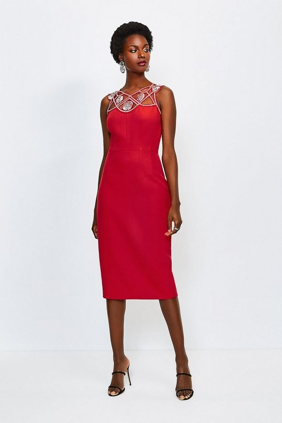 Fire red Diamante Cutwork Midi Dress