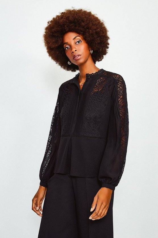 Black Lace Trim Long Sleeve Top