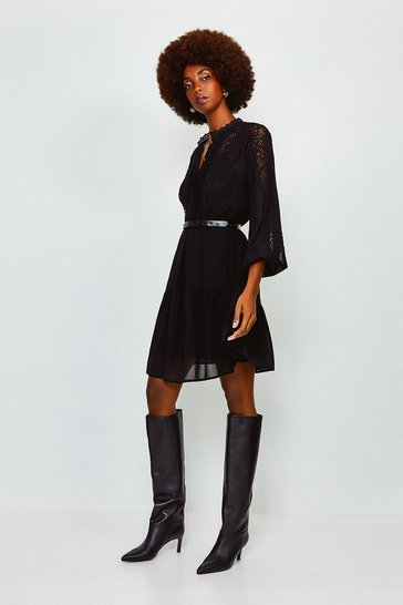 Fig Lace Trim Belted Dress