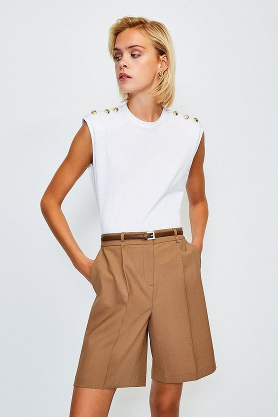 White Cotton Button Detail Tee With Shoulder Pads