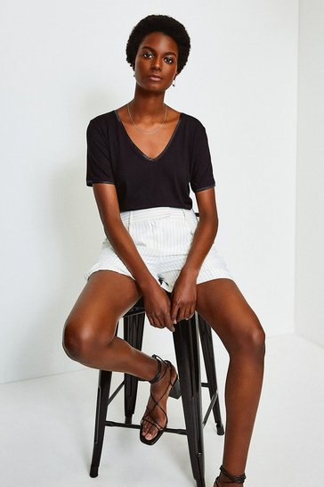 Black Viscose Jersey Satin Trim V T-Shirt