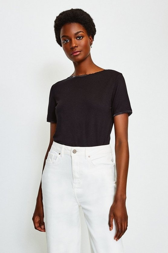 Black Viscose Elastane Satin Trim Slash Neck T-Shirt