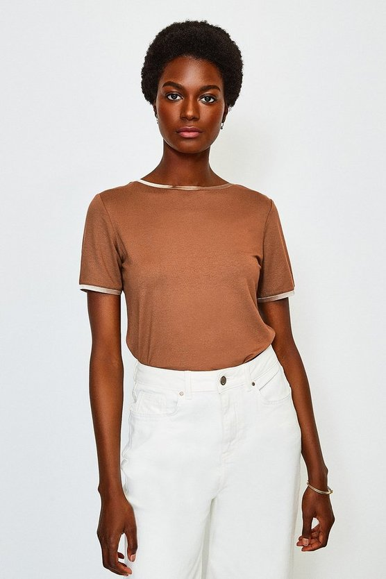 Camel Viscose Elastane Satin Trim Slash Neck T-Shirt