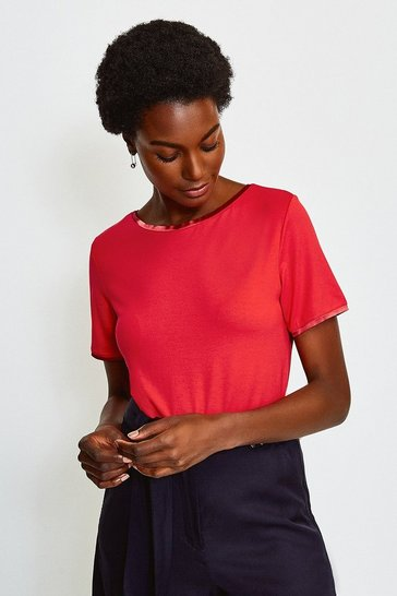 Red Viscose Elastane Satin Trim Slash Neck T-Shirt