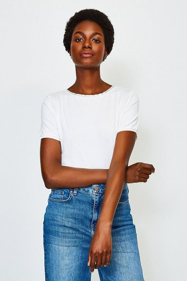 White Viscose Elastane Satin Trim Slash Neck T-Shirt