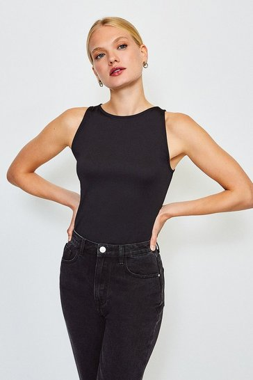 Black Microfibre Slash Neck Top